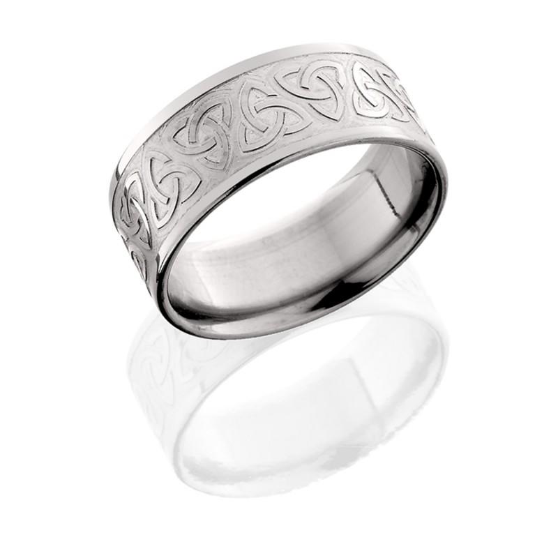 Lashbrook 9FTRINITYU BEAD POLISH Titanium Wedding Ring Or Band