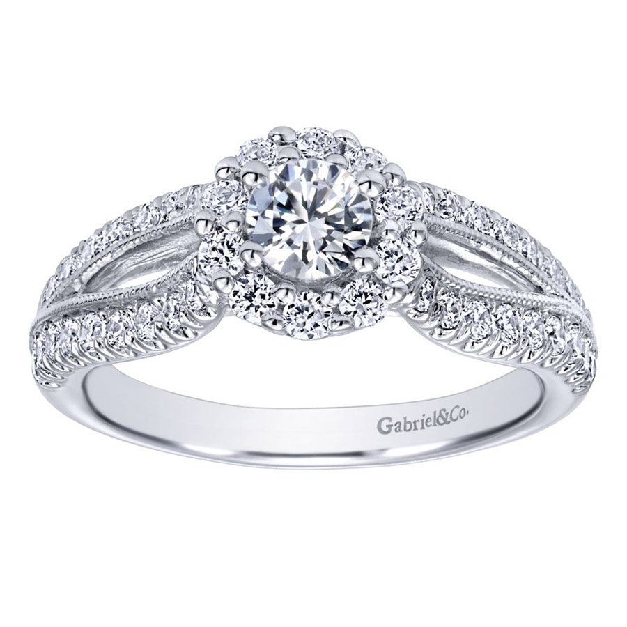 Gabriel 14 Karat Contemporary Engagement Ring ER910150W44JJ Alternative View 4