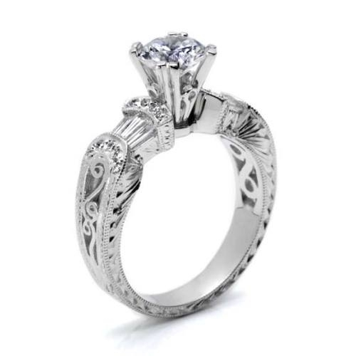 Tacori Platinum Hand Engraved Engagement Ring HT2130 Alternative View 1