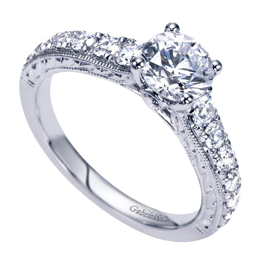 Gabriel 14 Karat Contemporary Engagement Ring ER98717W44JJ Alternative View 2