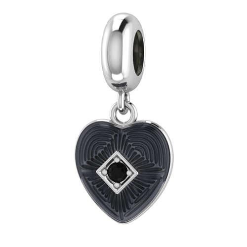 JLO ENDLESS JEWELRY Black Heart of love argent 925 sterling charme #41450-2