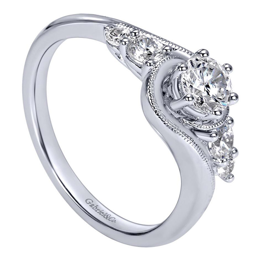 Gabriel 14 Karat Contemporary Engagement Ring ER910064W44JJ Alternative View 2