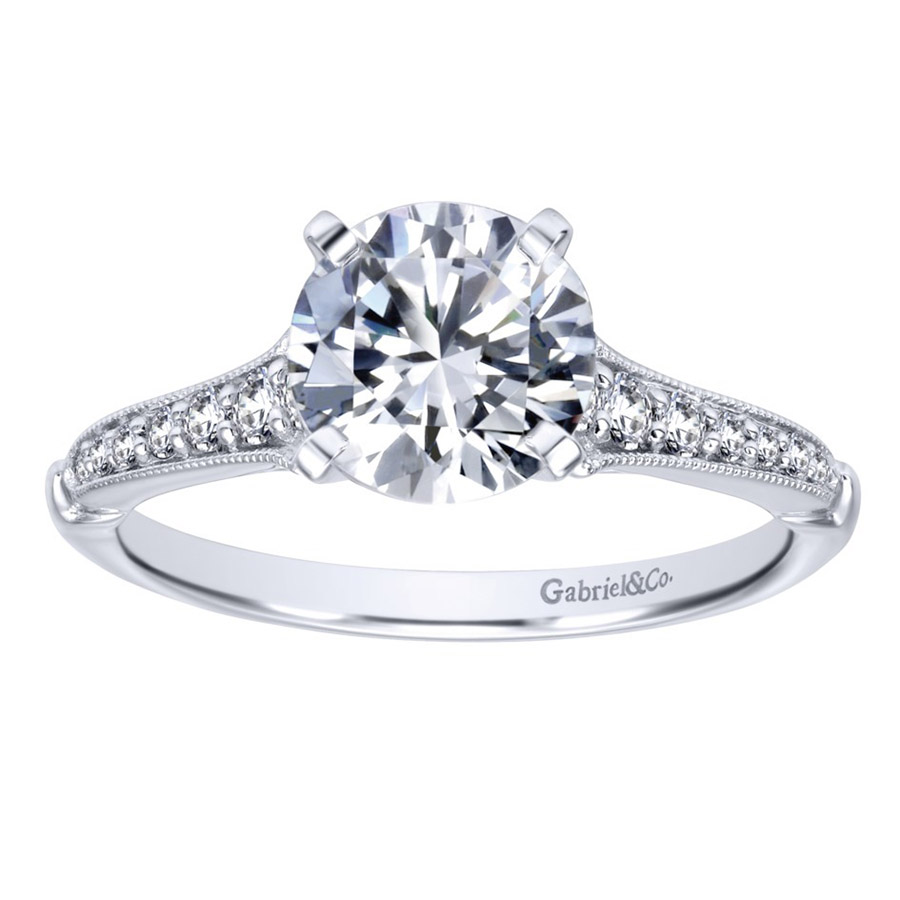 Gabriel 14 Karat Victorian Engagement Ring Er11746r4w44jj Alternative  View 4