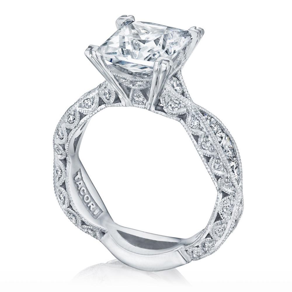 2644pr834 Platinum Tacori Classic Crescent Engagement Ring