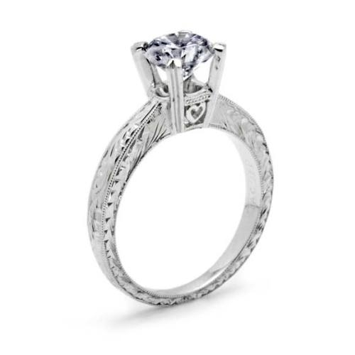 Tacori 18 Karat Hand Engraved Solitaire Engagement Ring 10937 Alternative View 1