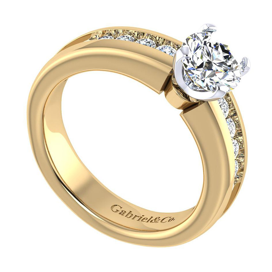 Gabriel 14 Karat Contemporary Engagement Ring ER3986M44JJ Alternative View 2