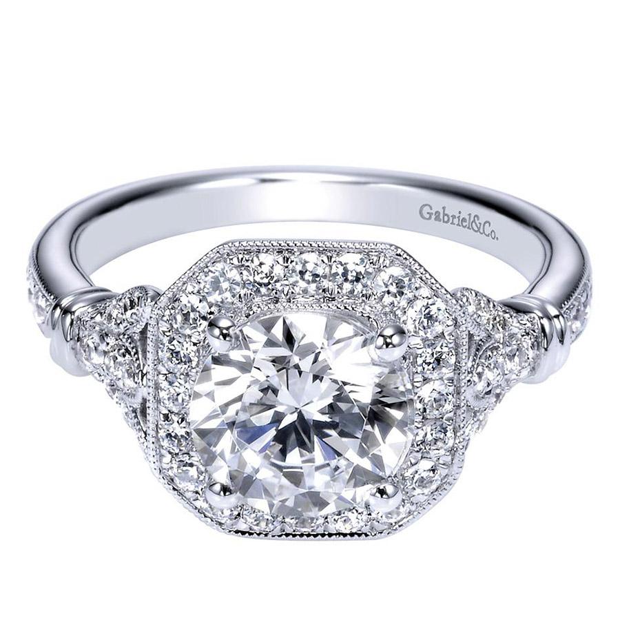 gabriel 14 karat victorian engagement ring er8985w44jj. Black Bedroom Furniture Sets. Home Design Ideas
