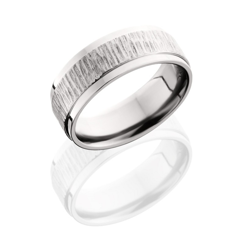 Lashbrook 8FGEW TREEBARK 1-POLISH Titanium Wedding Ring or Band