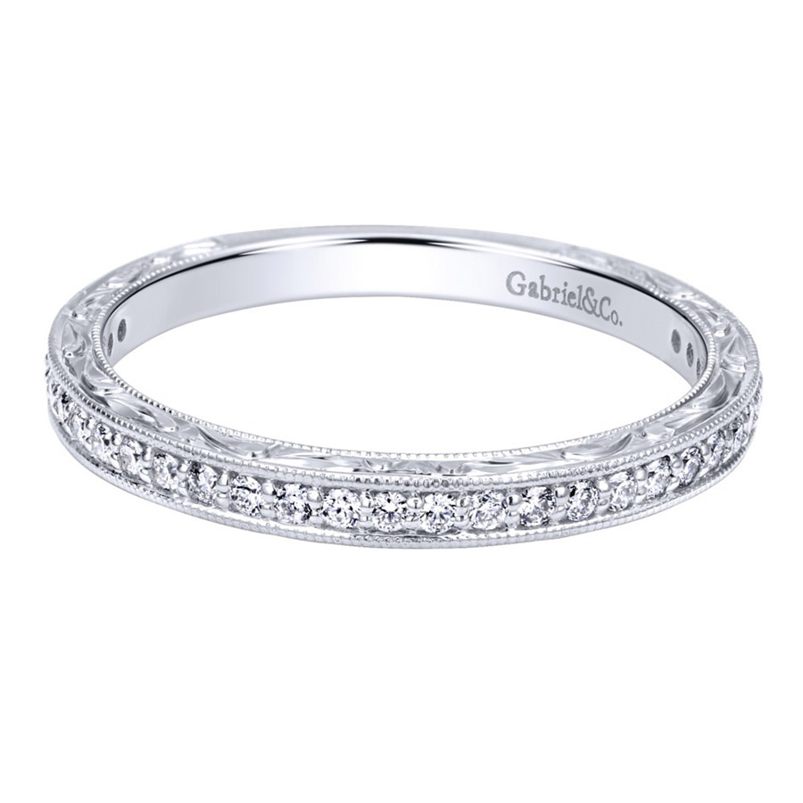 gabriel 14 karat victorian wedding band wb11793s4w44jj - Victorian Wedding Rings