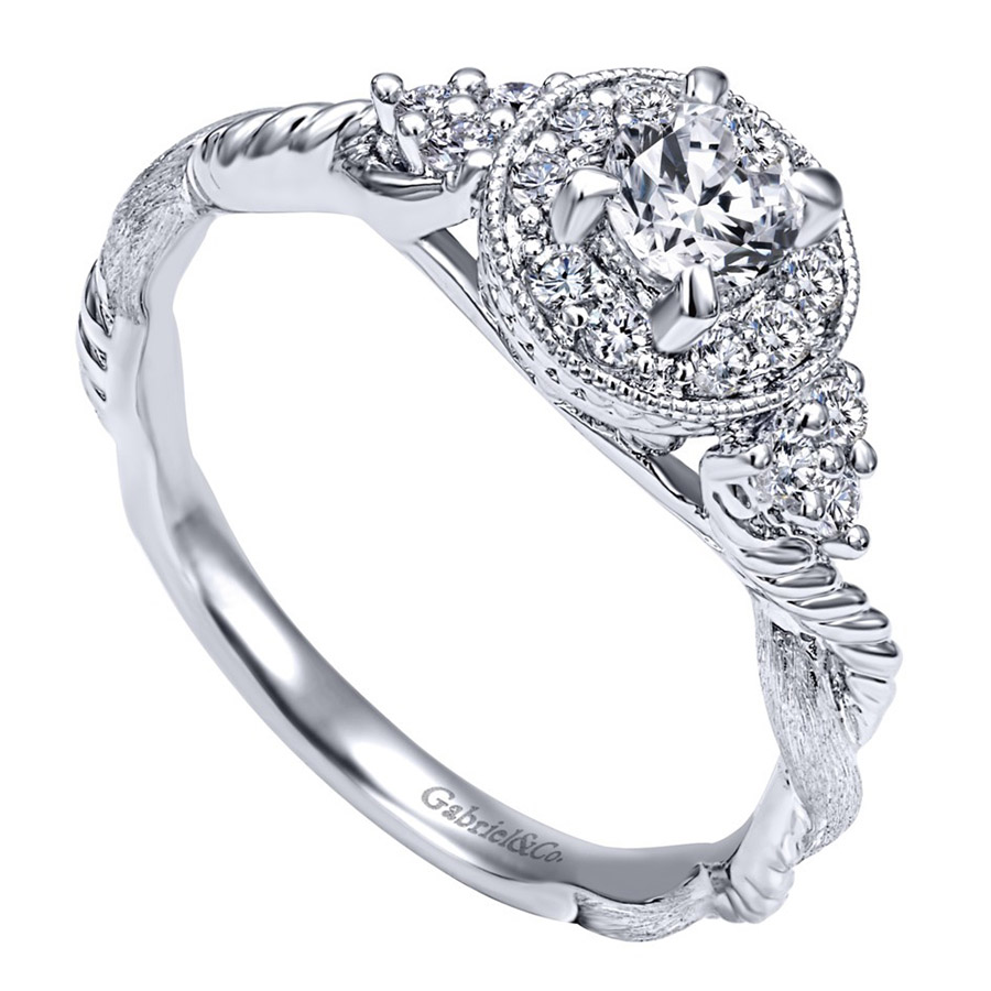 Gabriel 14 Karat Contemporary Engagement Ring ER910767W44JJ Alternative View 2