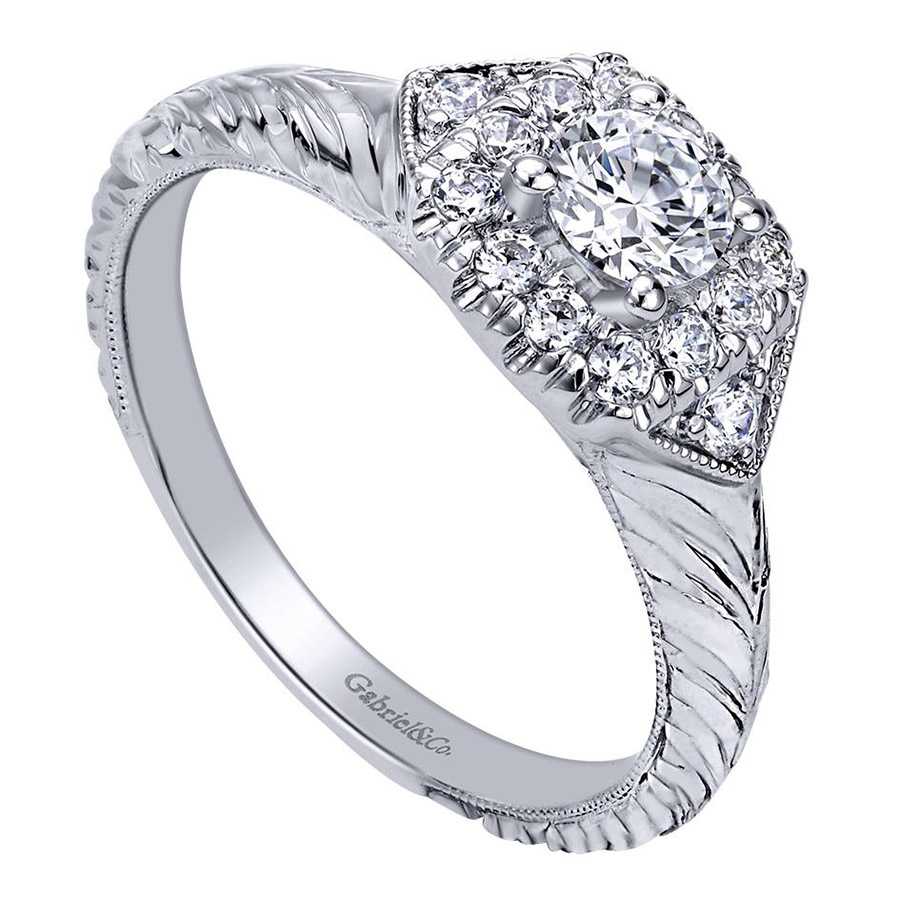 Gabriel 14 Karat Contemporary Engagement Ring ER910421W44JJ Alternative View 2