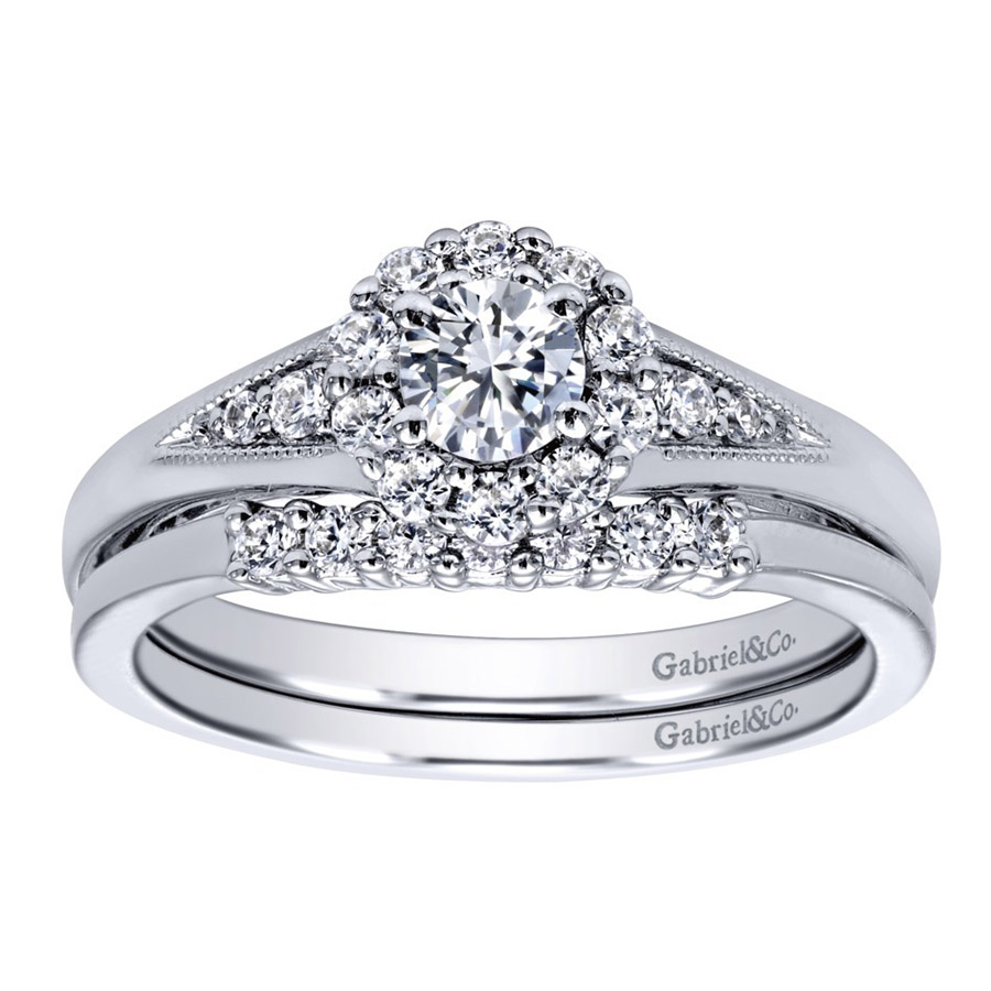 Gabriel 14 Karat Contemporary Engagement Ring ER910224W44JJ Alternative View 3