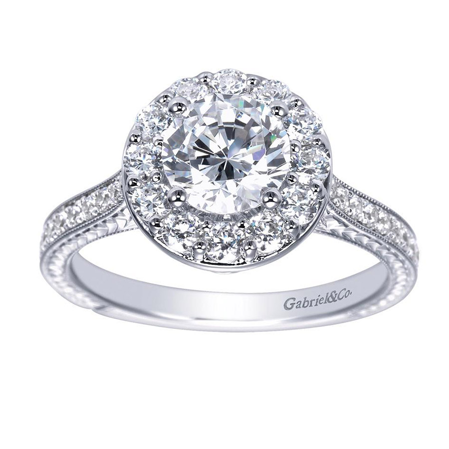Gabriel 14 Karat Victorian Engagement Ring Er7504w44jj Alternative View  4