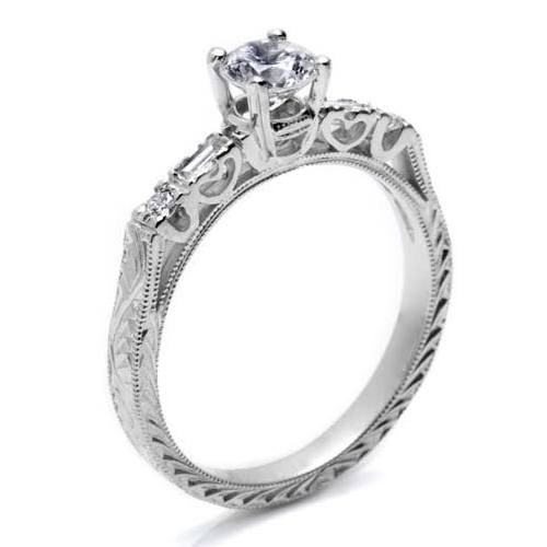 Tacori Platinum Hand Engraved Engagement Ring HT2222 Alternative View 1