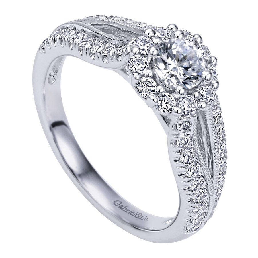 Gabriel 14 Karat Contemporary Engagement Ring ER910150W44JJ Alternative View 2