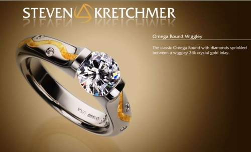 Kretchmer Platinum/24K Gold Omega Round Wiggley Tension Set Ring Alternative View 2