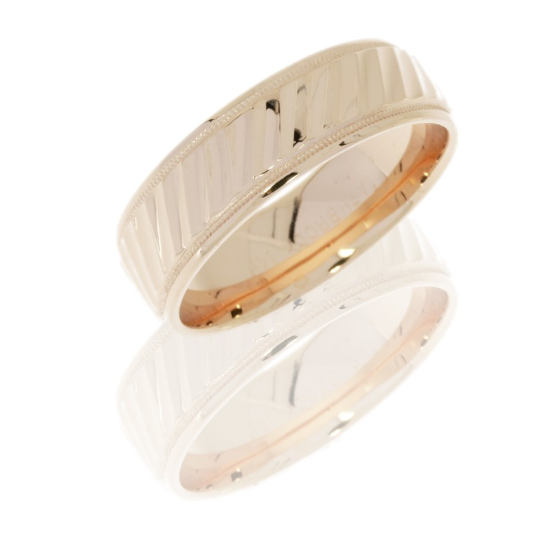 Lashbrook 14KR7B2UMILSTRIPES POLISH Precious Metal Wedding Ring or Band