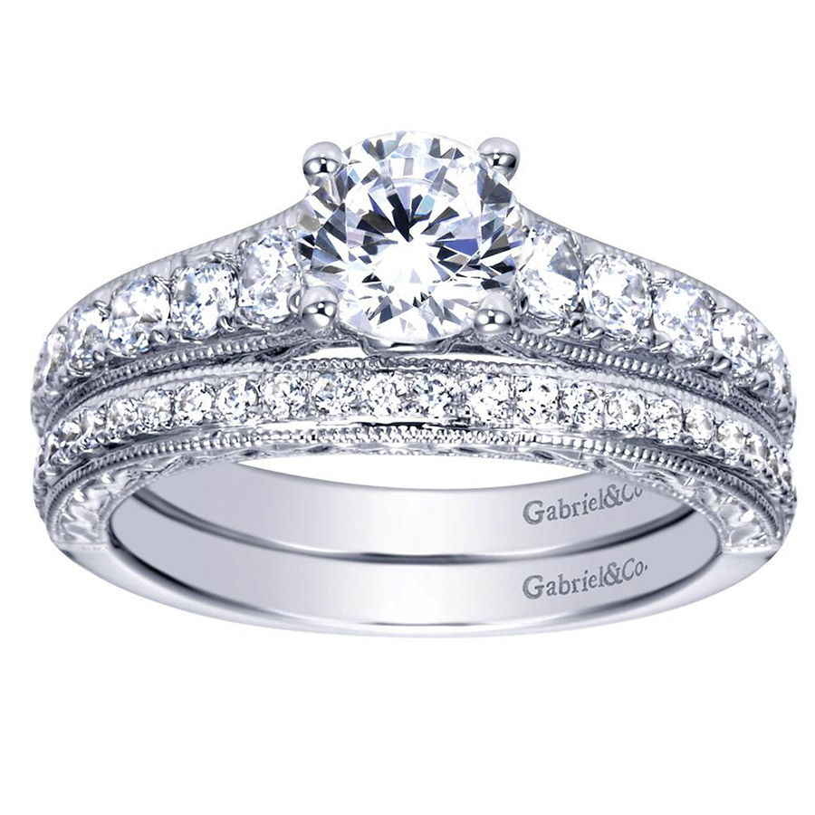 Gabriel 14 Karat Contemporary Engagement Ring ER98717W44JJ Alternative View 3