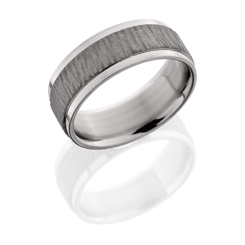 Lashbrook 8FGEW TREEBARK1 SAND-POLISH Titanium Wedding Ring or Band