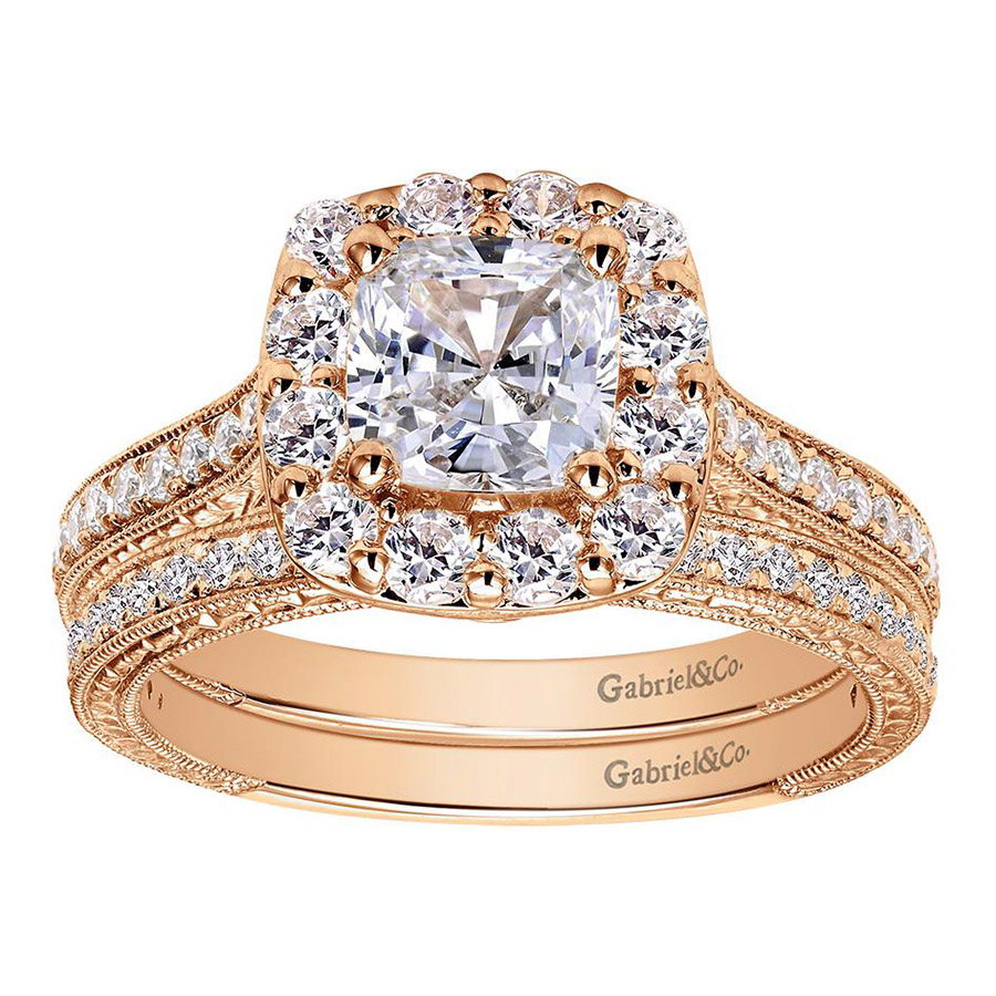 Gabriel 14 Karat Victorian Engagement Ring ER7500K44JJ Alternative View 3