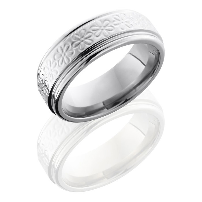 Lashbrook 8REFFLWR Polish Titanium Wedding Ring Or Band