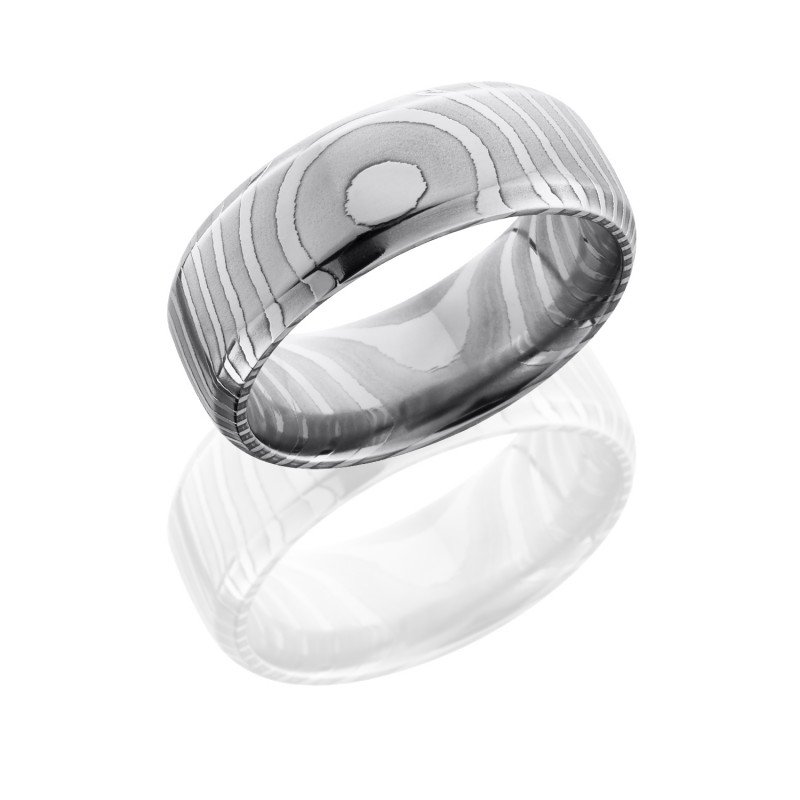 Lashbrook D8DBTIGER POLISH Damascus Steel Wedding Ring or Band