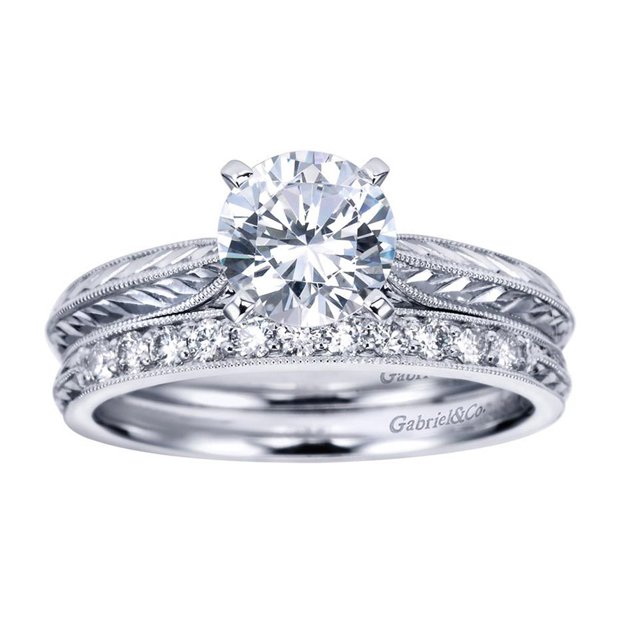 Gabriel Platinum Victorian Engagement Ring ER6707PTJJJ Alternative View 3