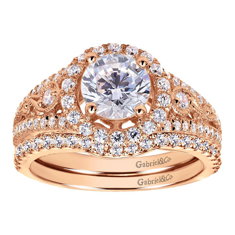 Gabriel 14 Karat Victorian Engagement Ring ER5375K44JJ Alternative View 3