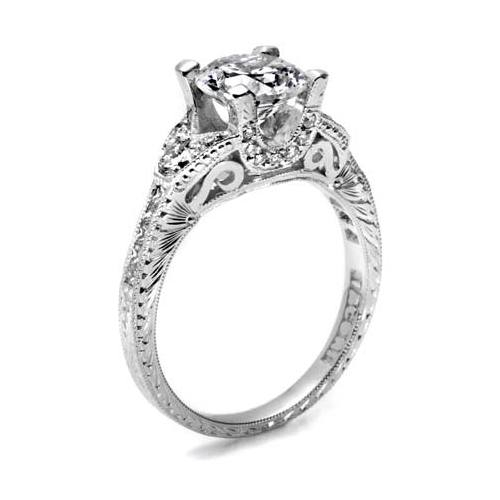 Tacori Hand Engraved Platinum Engagement Ring HT2330 Alternative View 1