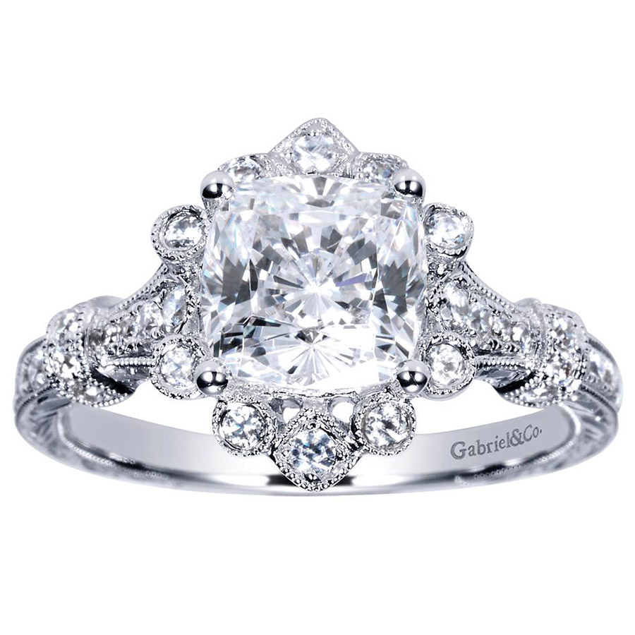 Gabriel 14 Karat Victorian Engagement Ring Er8838w44jj Alternative View  4