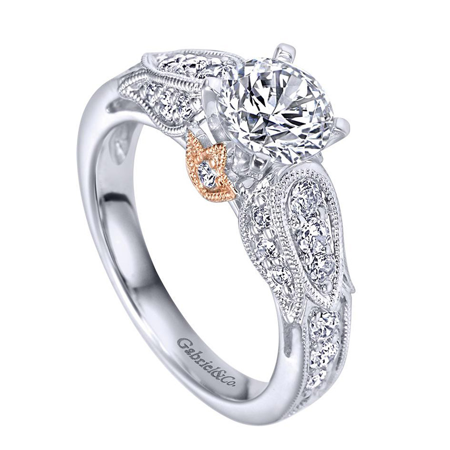 Gabriel 14 Karat Victorian Engagement Ring ER4072T44JJ Alternative View 2