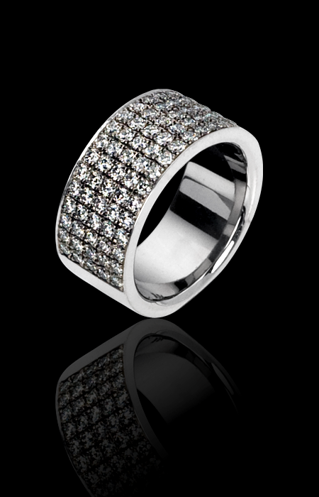 Kretchmer Platinum Five Row Band with Pave Diamonds Tension Set Alternative View 1