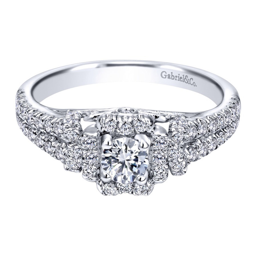Gabriel 14 Karat Contemporary Engagement Ring ER910161W44JJ