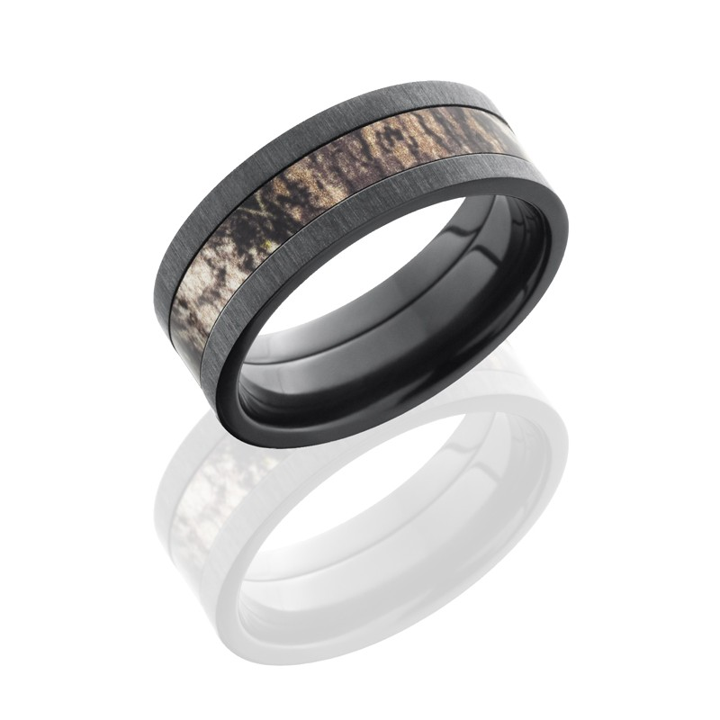 Lashbrook ZCAMO8F14-MOSSYOAK CROSS SATIN BLACK Camo Wedding Ring or ...