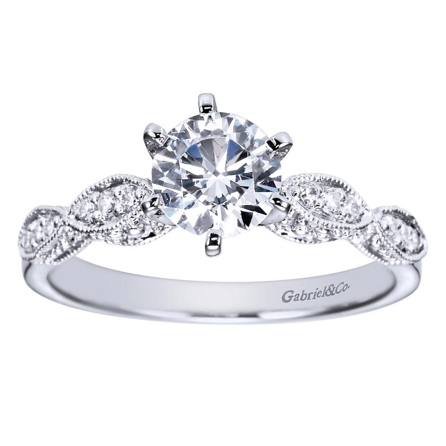 Gabriel 14 Karat Victorian Engagement Ring Er3848w44jj Alternative View  4