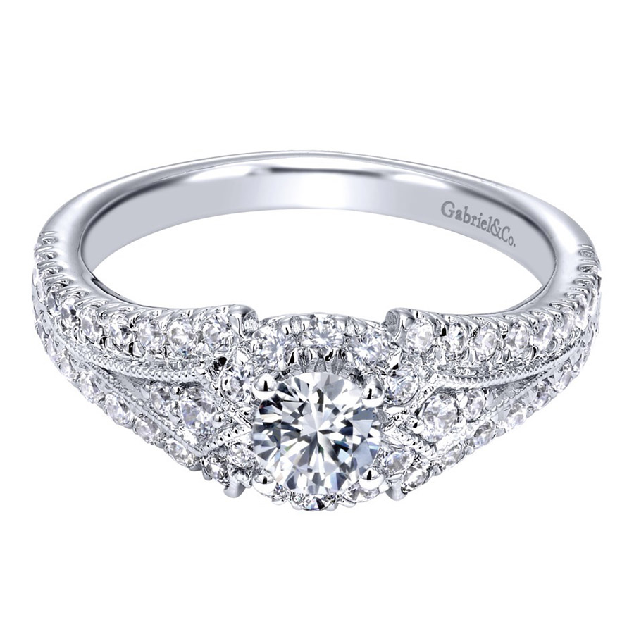 Gabriel 14 Karat Contemporary Engagement Ring ER910140W44JJ
