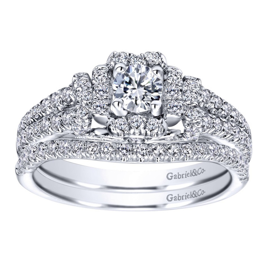 Gabriel 14 Karat Contemporary Engagement Ring ER910161W44JJ Alternative View 3