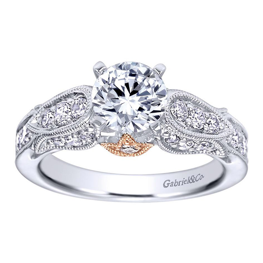 Gabriel 14 Karat Victorian Engagement Ring ER4072T44JJ Alternative View 4
