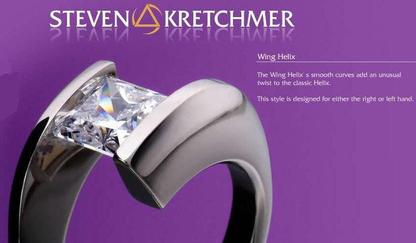 Kretchmer 18 Karat Truncated Wing Helix Tension Set Ring Alternative View 1