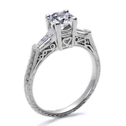 Tacori Platinum Hand Engraved Engagement Ring HT2201 Alternative View 1