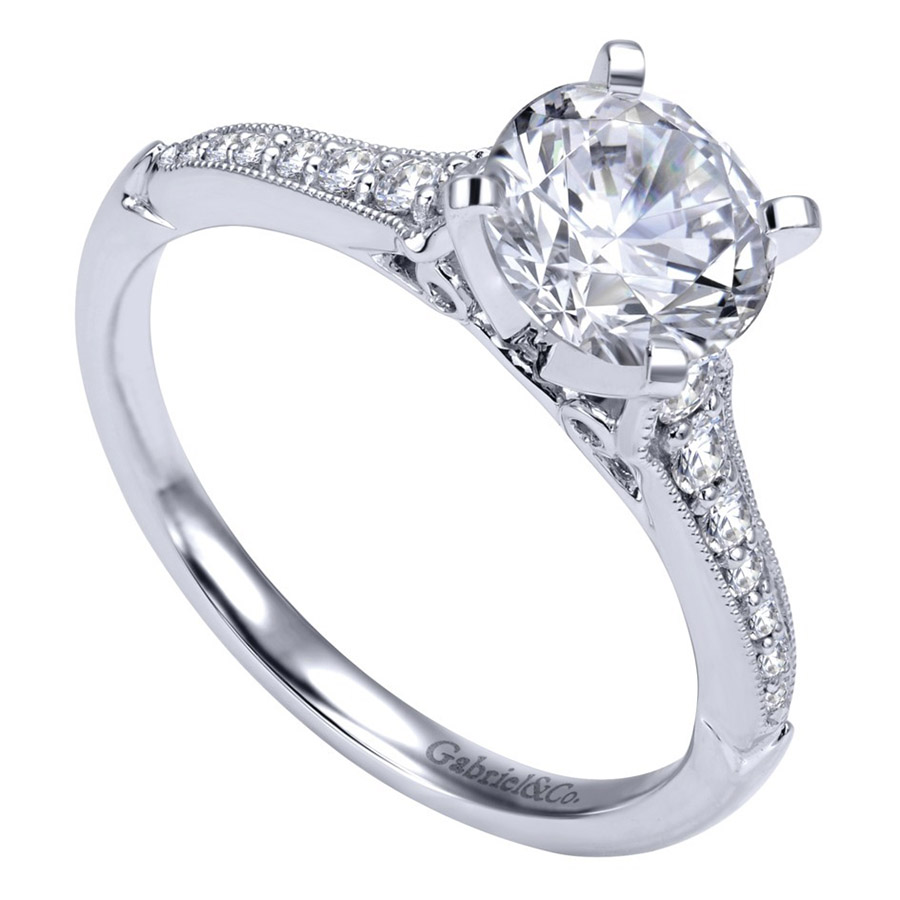Gabriel 14 Karat Victorian Engagement Ring Er11746r4w44jj Alternative  View 2