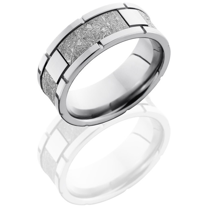 lashbrook cc8f4seg meteorite polish cobalt chrome meteorite wedding ring or band - Meteorite Wedding Ring