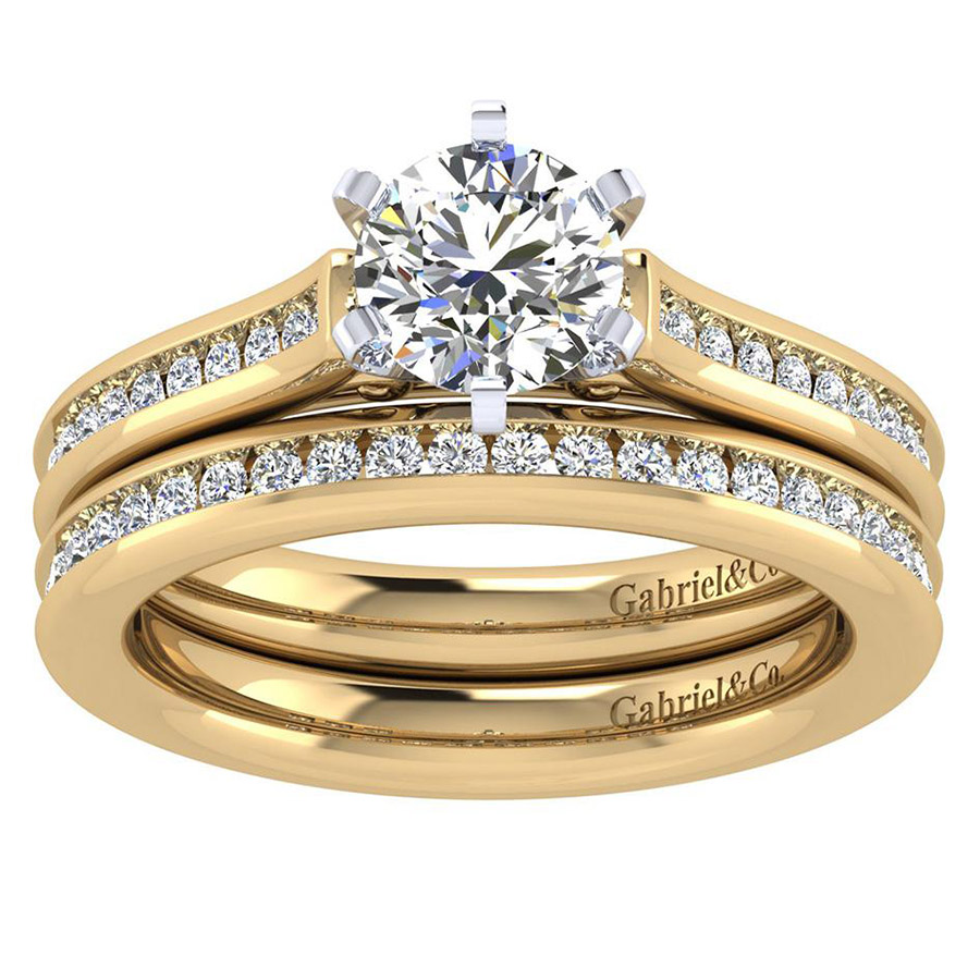 Gabriel 14 Karat Contemporary Engagement Ring ER6674M44JJ Alternative View 3