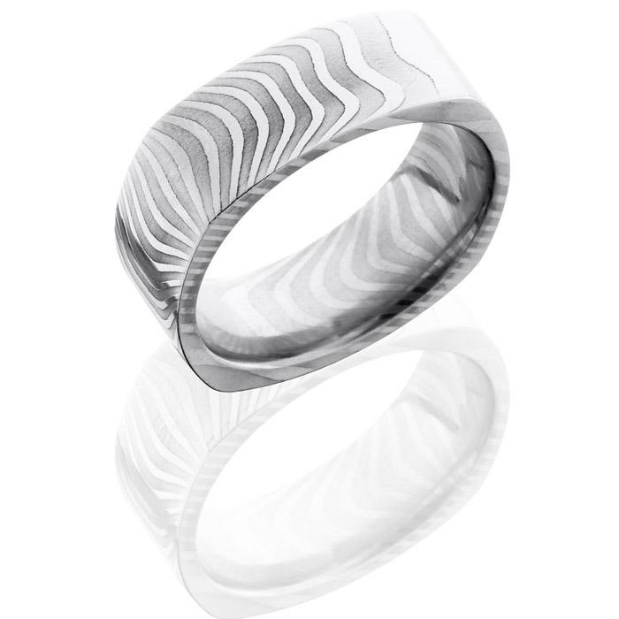 Lashbrook D8fsqtiger Polish Damascus Steel Wedding Ring Or Band Tq