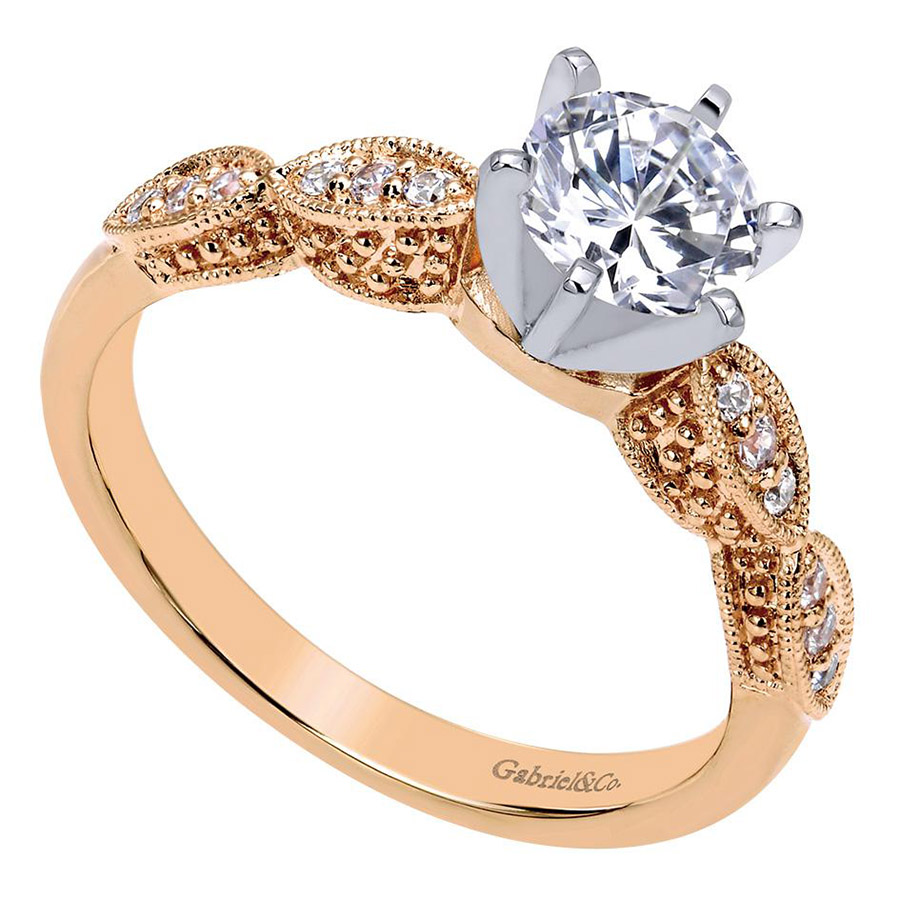Gabriel 14 Karat Victorian Engagement Ring ER3848T44JJ Alternative View 2
