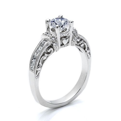 Tacori Platinum Hand Engraved Engagement Ring HT2196RD8 Alternative View 1