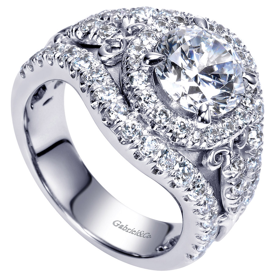 Gabriel 18 Karat Contemporary Engagement Ring ER8450W83JJ Alternative View 2