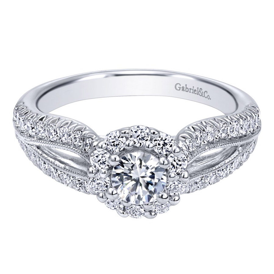 Gabriel 14 Karat Contemporary Engagement Ring ER910150W44JJ