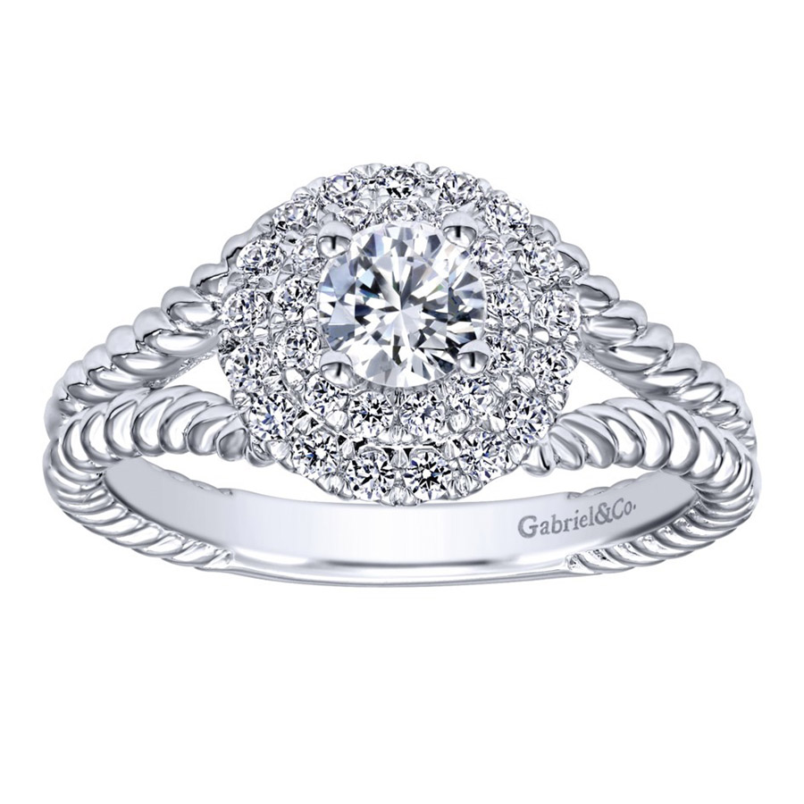 Gabriel 14 Karat Contemporary Engagement Ring ER910144W44JJ Alternative View 4