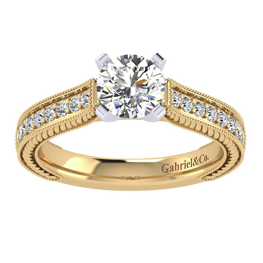 Gabriel 14 Karat Victorian Engagement Ring ER6633M44JJ Alternative View 4